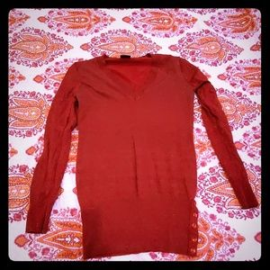 Sparkly red v-neck tunic sweater
